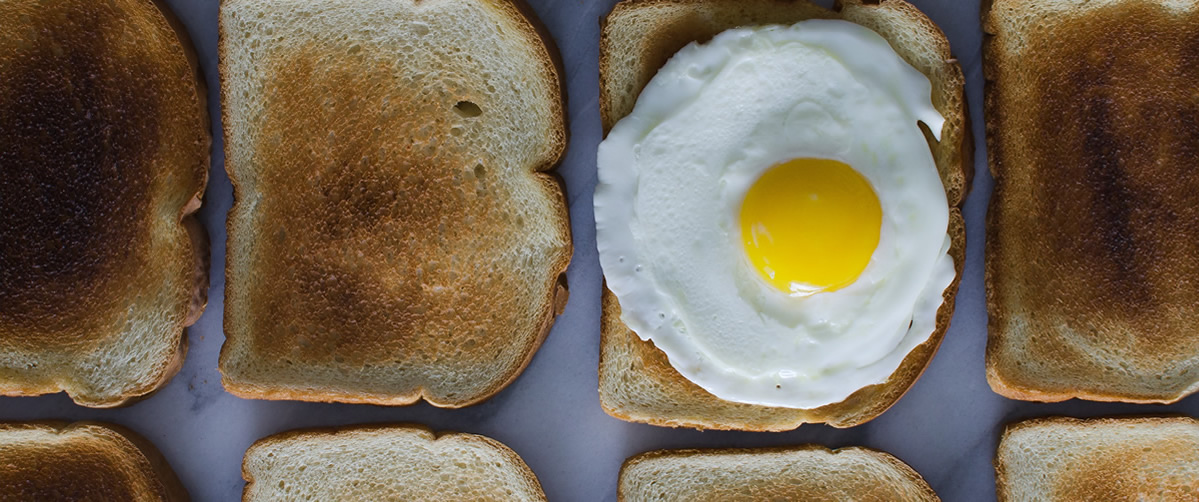 Photo of egg on toast to denote Breakfast Town and reflecting the name of this brand strategy and creative communications consultancy based in Richmond West London