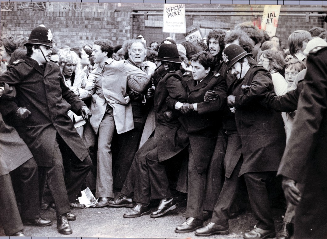 Photo of police and picketers in 1970s strikes a spart of Breakfast Town blog about nostalgia marketing