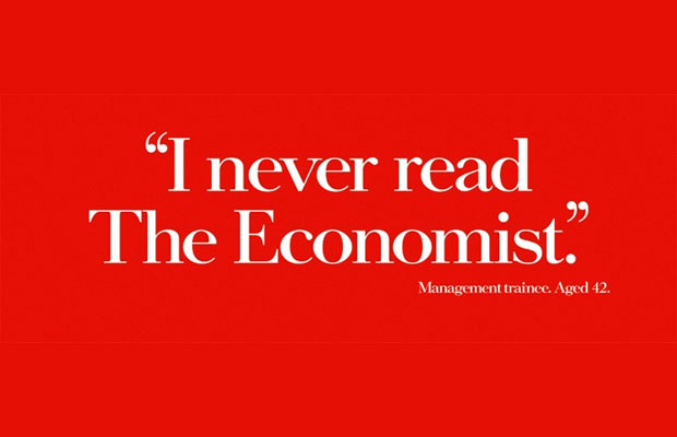 Red and white Economist poster saying I Never Read The Economist used in Breakfast Town's blog about pushing for great creative ideas