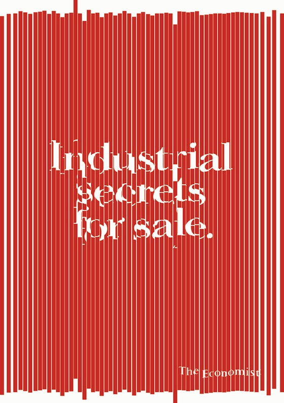 Shredded Economist poster saying Industrial secrets for sale in blog on value of creative idea